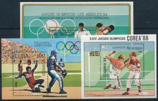 1984-1988 Baseball 3 klf blokk 1984-1988 Baseball 3 diff blocks