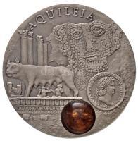 Niue 2011. 1$ Ag Borostyánút / Aquileia borostyán darabbal (28,58g/0.925/38mm) T:BU /  Niue 2011. 1 Dollar Ag Amber Route / Aquileia with amber piece (28,58g/0.925/38mm) C:BU