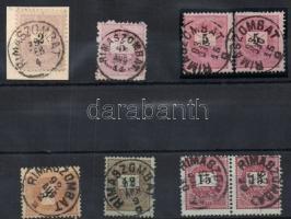1881-89 5db krajcáros bélyeg + 1db kivágás + 1db pár Rimaszombat bélyegzéssel