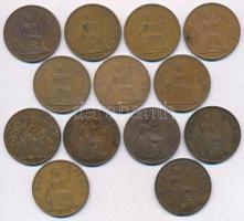 Nagy-Britannia 1917-1967. 1p Br (13x) T:2-3-  Great Britain 1917-1967. 1 Penny Br (13x) C:XF-VG