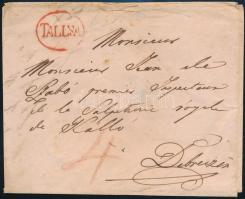 ~1830 Portós levél / Unpaid cover piros / red TALLYA - Debreczen