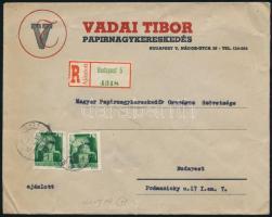 Inflation cover, Local business cover ;Magyarország;1945 (1. díjszabás) Ajánlott helyi céges levél Hadvezérek 2 x 1P bérmentesítéssel