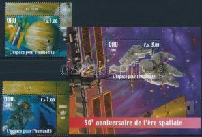 2007 50 éves az űrutazás ívsarki sor Mi 584-585 + blokk Mi 22