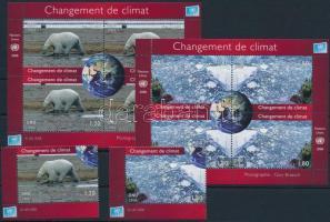 Éghajlatváltozás blokksor + blokkból kitépett 2 ívsarki bélyeg Climatic change blockset + 2 corner stamps from block
