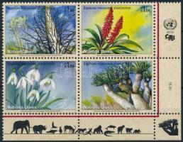 Veszélyeztetett fajok: növények ívsarki négyestömb Endangered Species: Plants corner block of 4