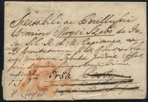 1825 Levél Pestre, majd továbbküldve Irsára 12kr portóval / Unpaid cover ESSEGG - Pesth, redirected to Irsa