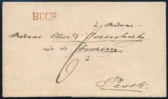 ~1845 Portós levél / Unpaid cover piros / red BUCS - Pesth