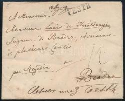1845 Portós levél Beodrára, majd visszaküldve Pestre / Unpaid cover PESTH -ˇ BEODRA returned to Pesth