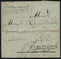 1838 Portós levél Törökszentmiklósra, majd továbbítva Fegyvernekre / Unpaid cover CLAUSENBURG - Törökszentmiklós, redirected to Fegyvernek