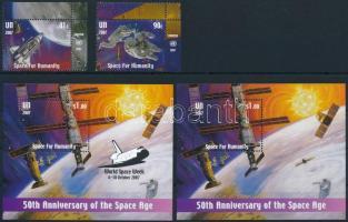 2007 Űrkutatás ívsarki sor Mi 1075-1076 + blokksor Mi 27 + 27 I