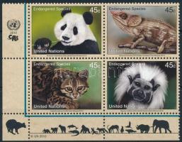 Endangered species corner block of 4, Veszélyeztetett állatfajok ívsarki négyestömb