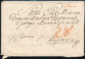 ~1820 Portós levél / Unpaid cover Ónód - Ungvár (szakadt, hiányos hajtóka / tiered)
