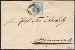 """1850 9kr I on cover, 1850 9kr I levélen """"DEBRECZEN"""" - """"HERRMANSTADT"""""""