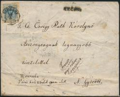 """~1853 Registered cover with recorded delivery """"VADKERT"""" - """"PESTH"""" - """"RAAB"""", ~1853 Tértivevényes ajánlott levél 9kr + 2 x 3kr bérmentesítéssel + a tértivevénnyel letépett 6kr maradvánnyal """"VADKERT"""" - """"PESTH"""" - """"RAAB"""""""