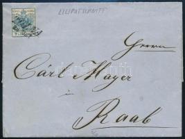 """~1853 9kr on cover """"TOLNA"""" - """"PESTH FRÜH"""", ~1853 9kr liliputi vágással levélen """"TOLNA"""" - """"PESTH FRÜH"""""""