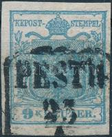 "1850 9kr HP I with watermark, 1850 9kr HP I vízjeles ""PESTH"" Signed: Ferchenbauer"