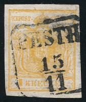 1850 1kr HP I.b narancsokker / orange ochre ,,PESTH Certificate: Steiner