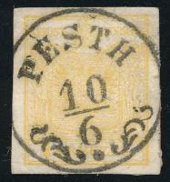 1850 1kr MP I. b világos aranysárga / light golden yellow ,,PESTH Certificate: Steiner