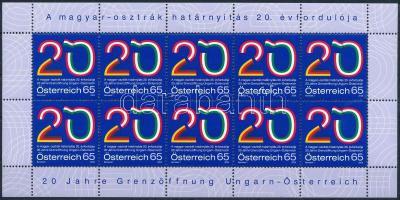 A magyar-osztrák határnyitás 20. évfordulója kisív Hungarian-Austrian border opening minisheet