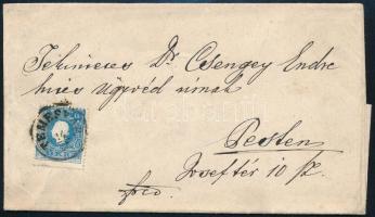 "~1860 15kr on cover ,,TEMESVÁR"" - ,,PESTH Früh"", ~1860 15kr levélen ,,TEMESVÁR"" - ,,PESTH Früh"""