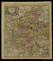 1720 Párizs és környékének térképe. Johann Baptist Homann: Agri Parisiensis Tabula particularis, qua maxima Pars Insulae Franciae . Particulir Carte des Landes und der Schön-Weltberuhmte(n) Gegend umb Paris. Színezett rézmetszet / Map of Paris and neighbouring areas Colored copper plate engraving 62x55 cm