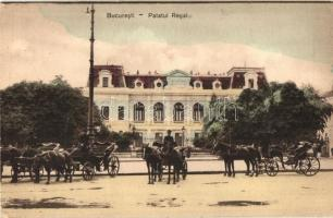 Bucharest, Bucuresti; Palatul Regal / Royal palace with chariots, horse-drawn carriages