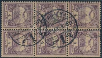 1900 Turul 4f bélyegfüzet lap csillag vízjellel / 4f booklet pane with star in watermark