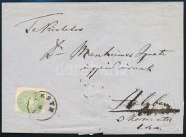 "~1863 3kr + 5kr rendkívül ritka helyi ajánlott levélen ""PESTH"" Certificate: Ferchenbauer (a hátoldali 5kr bélyeg elvágva), ~1863 3kr + 5kr on a very rare registered local cover ""PESTH"" Certificate: Ferchenbauer (5kr on the backside cut)"
