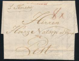 1789 Portós levél / unpaid cover, piros / red v.Temeswar (Gudlin 400 p)