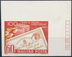 1969 Évfordulók - események (VII.) 100 éves a postai levelezőlap vágott ívsarki bélyeg