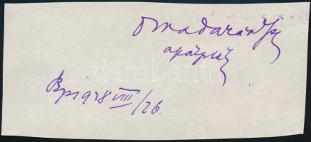 1928 Warner Adolf (1864-1939) zirci apát saját kezű aláírása kivágáson
