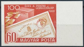 1969 Évfordulók - események (VII.) 100 éves a postai levelezőlap vágott ívszéli bélyeg
