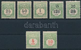1907-1922 7 Postage due stamps, 1907-1922 7 klf Portó bélyeg