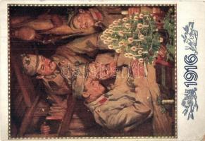 1916 / WWI K.u.K. military art postcard. Kriegsfürsorgeamt des k.u.k. Kriegsministeriums s: Alfred Offner, 1916 / I. világháború, Cs. és kir. hadsereg katonái. Kriegsfürsorgeamt des k.u.k. Kriegsministeriums s: Alfred Offner
