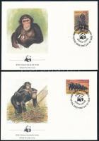 WWF  Chimpanzee set on 4 FDC WWF: Csimpánzok sor 4 db FDC-n