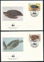 WWF Turtles set 4 FDC WWF: Teknősök sor 4 db FDC-n