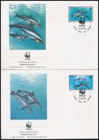 WWF: Delfin sor 4 FDC-n WWF: Dolphin set on 4 FDC