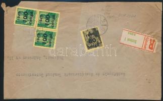 Inflation cover, Registered  local cover 1945 (5. díjszabás) Ajánlott távolsági levél előlap Kisegítő 60P/18f + 3 x 100P/12f bérmentesítéssel