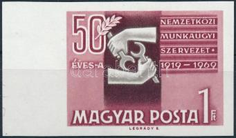 1969 Évfordulók - események (VII.) 50 éves a Nemzetközi Munkaügyi Szervezet vágott ívszéli bélyeg