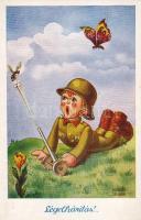 Humorous military card, child s: Kaszás-Jámbor, Légelhárítás, Humoros katonai lap, gyerek s: Kaszás-Jámbor