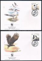 WWF Birds set on 4 FDC WWF: Madarak sor 4 db FDC-n