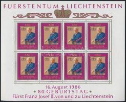 Prince Franz Joseph II. mini sheet II. Ferenc József herceg 80 éves kisív