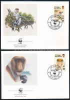 WWF Proboscis monkey set on 4 FDC WWF Borneói nagyorrúmajom 4 FDC-n