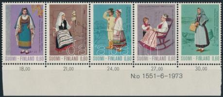 Népviselet sor ívszéli 5-ös csíkban Costumes set margin stripe of 5