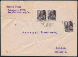 Inflation cover 1946 (15. díjszabás) Távolsági levél Betűs 3 x Távolsági levél/18f bérmentesítéssel, hiányzik 2 bélyeg