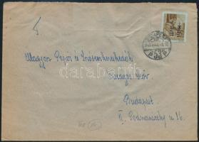 Inflation cover 1946 (14. díjszabás) Helyi levél Betűs Helyi levél/10f bérmentesítéssel, szükség borítékon (hátoldalán kivágások)