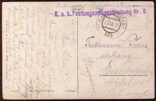 1916 Képeslap K.u.k. Festungszeugsabteilung Nr 6+FP 333