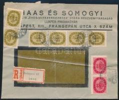 Inflation cover 1946 (17. díjszabás) Ajánlott helyi céges levél Milliós 2 x 20mP + 6 x 50mP bérmentesítéssel 28mP-vel túl bérmentesítve