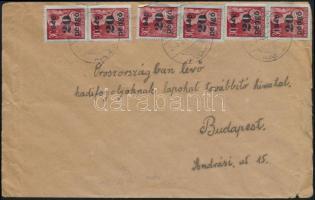 Inflation cover, Domestic cover 1945 (5. díjszabás) Távolsági levél Kisegítő 6 x 20P/30f bérmentesítéssel