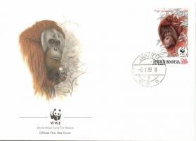 WWF Orangutan set 4 FDC, WWF Orángután sor 4 FDC, WWF Orang-Utan Satz 4 FDC